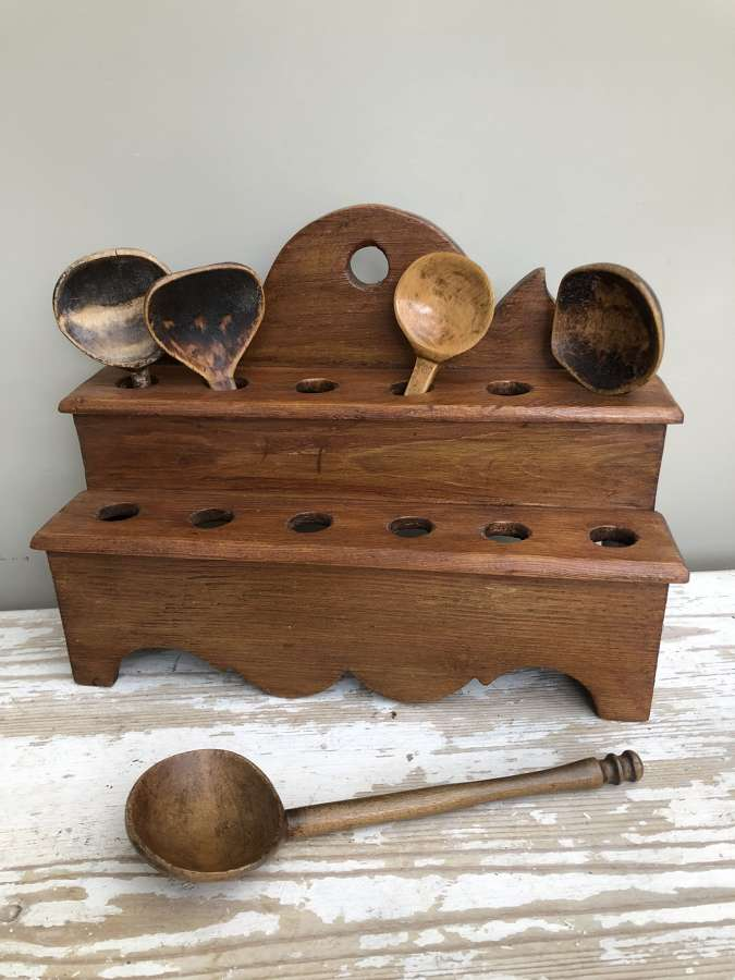 Antique Pine Welsh Spoon Rack