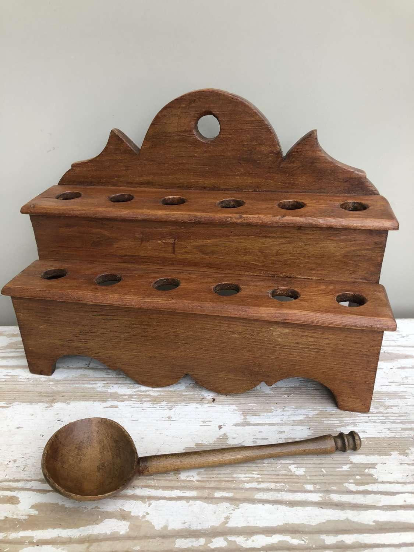 Antique Pine Welsh Spoon Rack