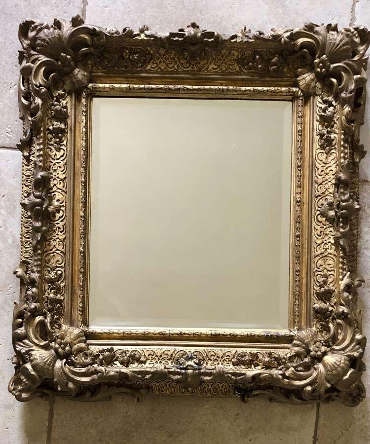 19th Cent Gilded Rococo Mirror