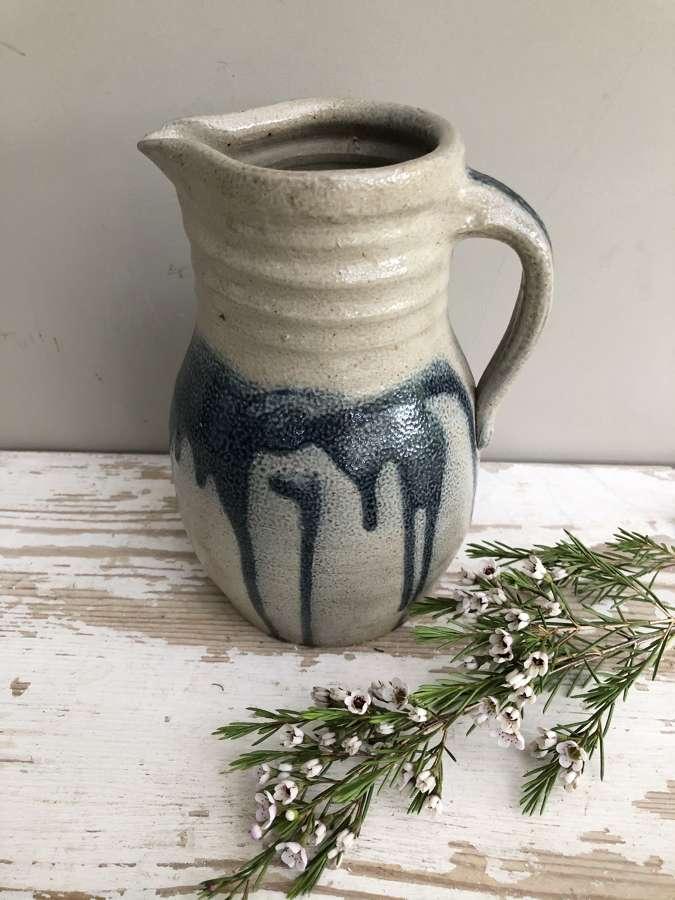 Grey and Blue Slipware Studio Pottery Jug