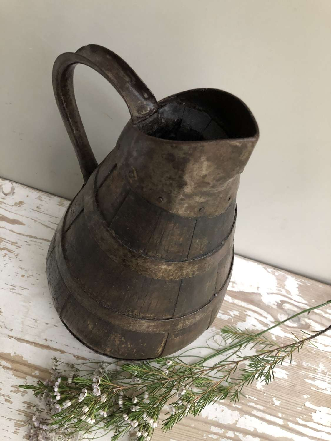 Antique Oak Wine or Cider Jug