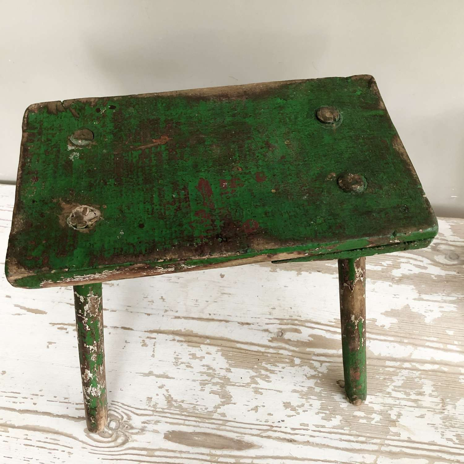 Green Painted Country Stool