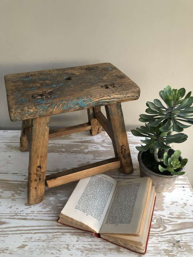 Small Elm Stool with Old Paint