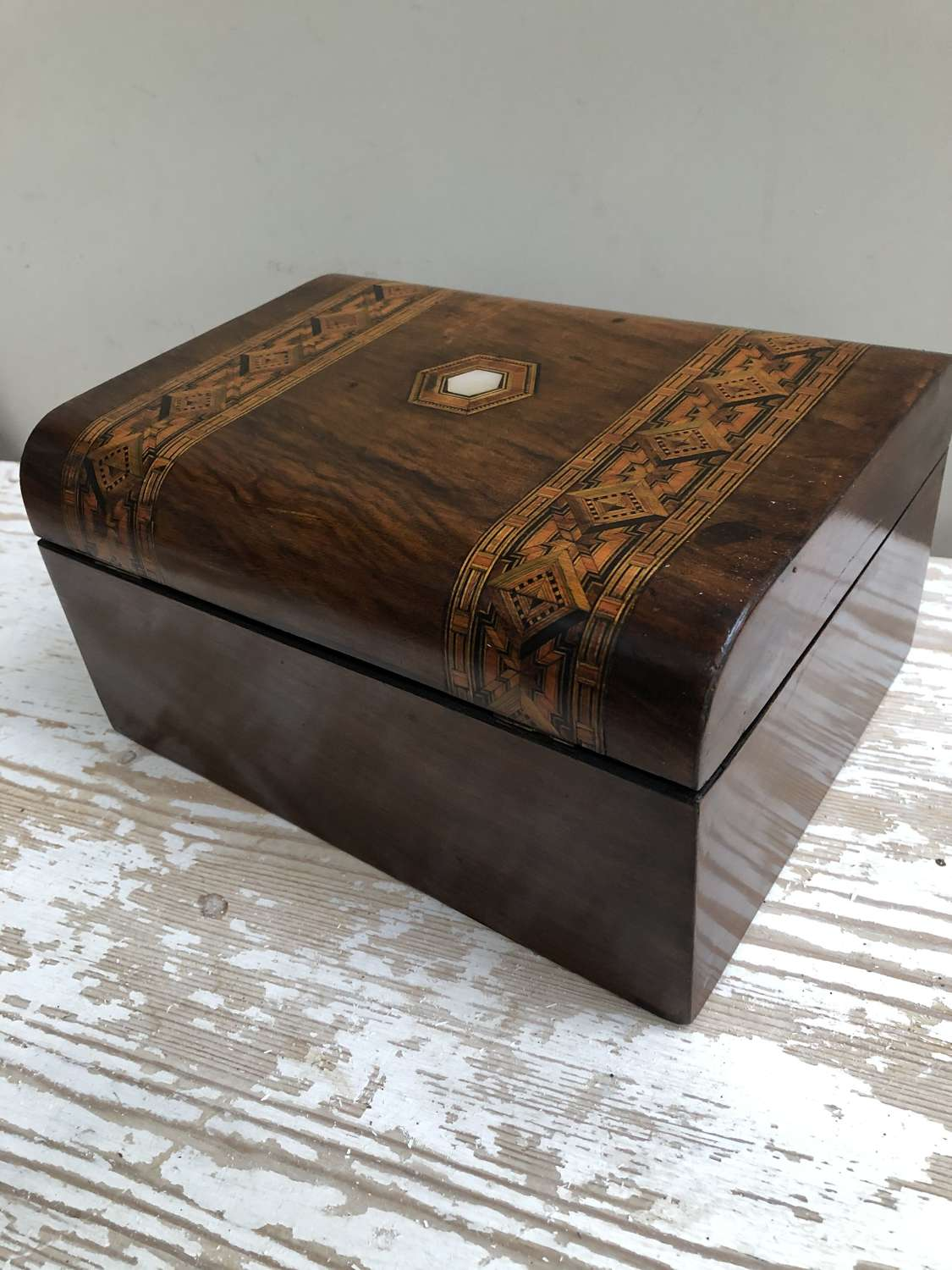 Victorian Rosewood and Marquetry Jewellery Box