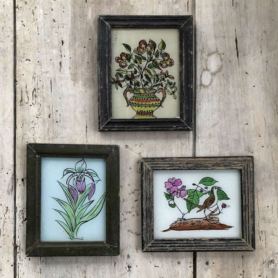 3 x Mini Glass Paintings (Botanical)