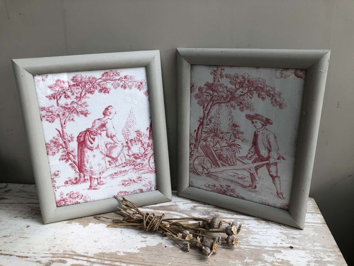 Pair of Antique French Toile Fabric Pictures