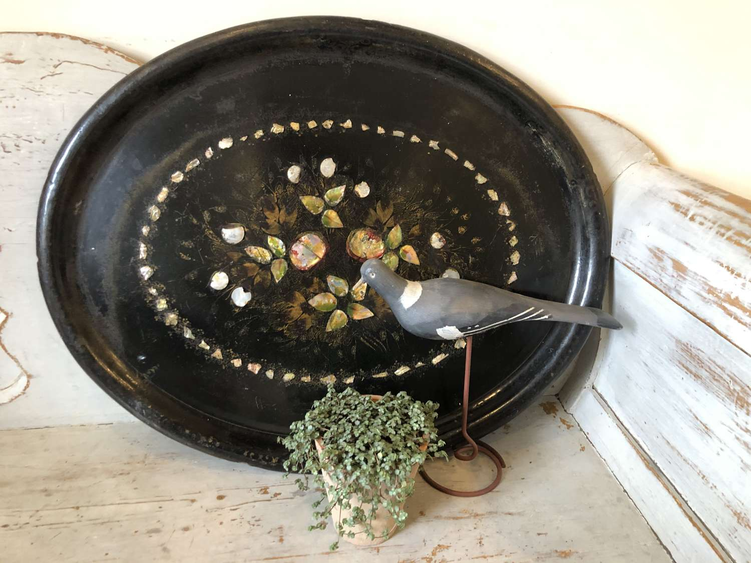 19th Cent Papier Mache Mother of Pearl Tray (GIANT SIZE)