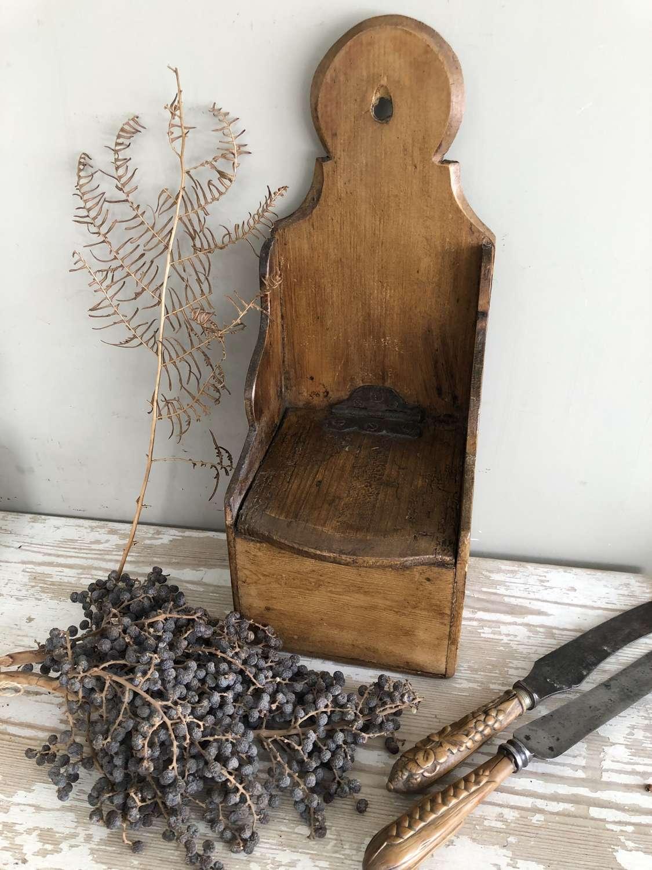 Superb 19th Cent Pine Wall Salt Box