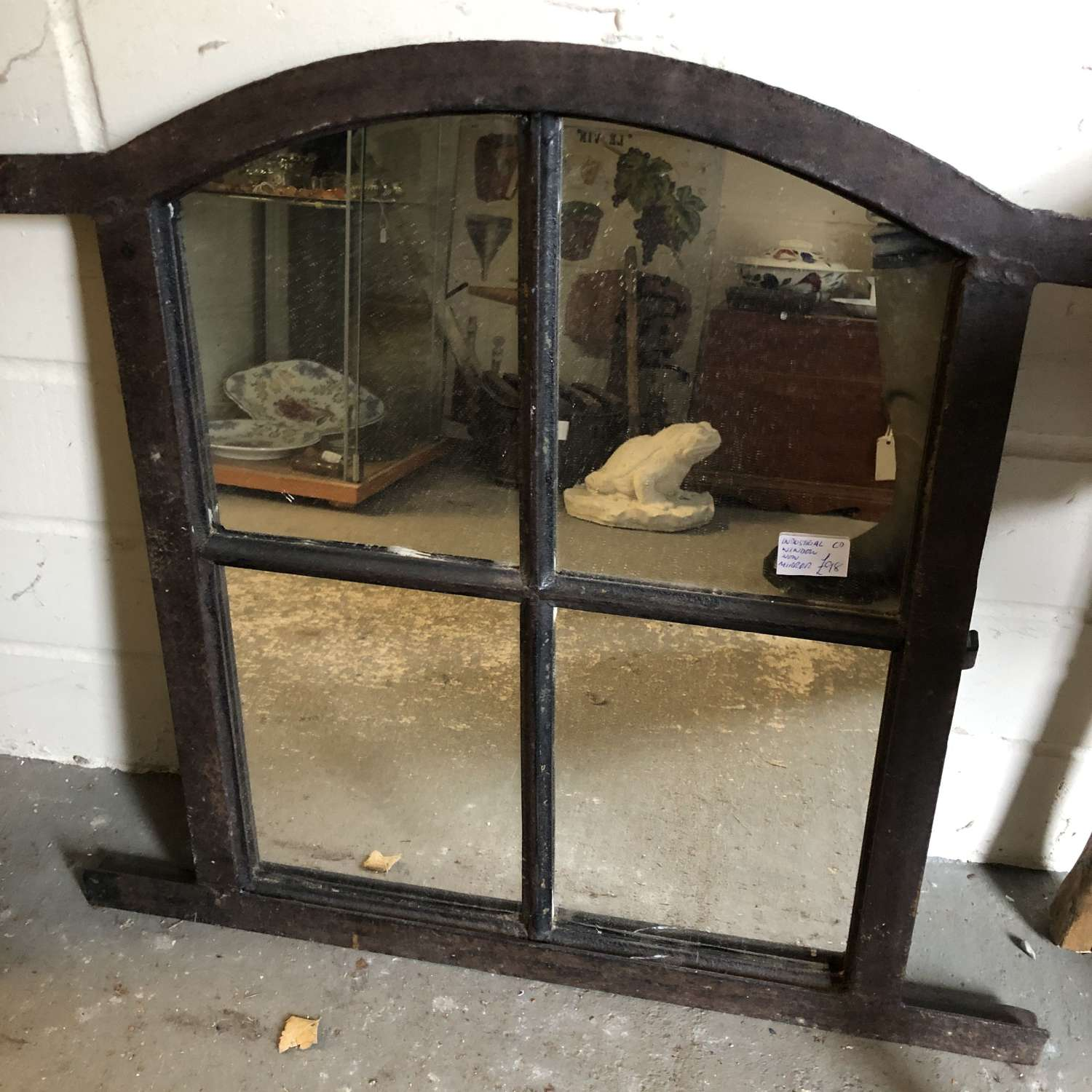 Small arched Industrial Window Mirror