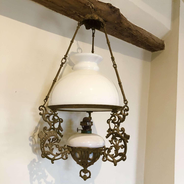 Edwardian Hanging Oil Lamp