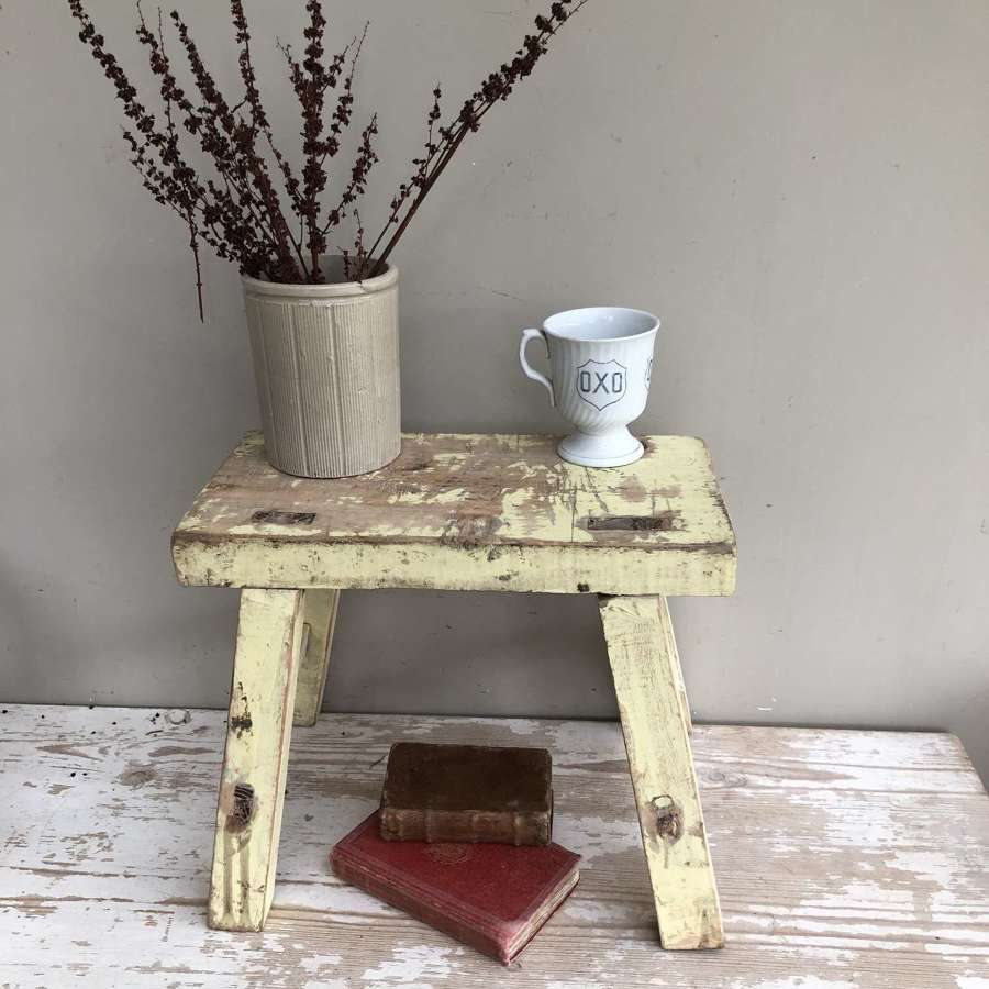 Cottage Stool in original yellow paint