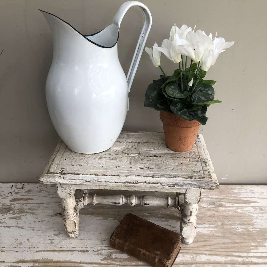 Old White-painted French Stool