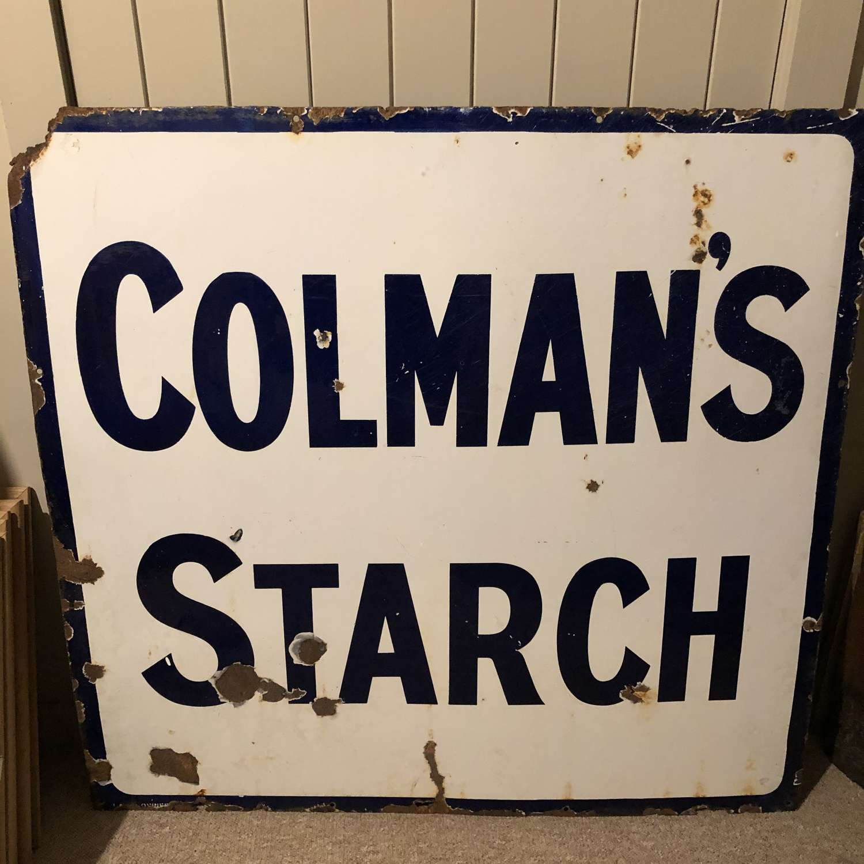 Large Square Enamel Colman's Starch Sign