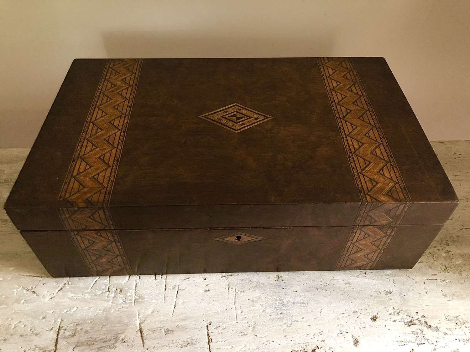 Larger size inlaid marquetry box