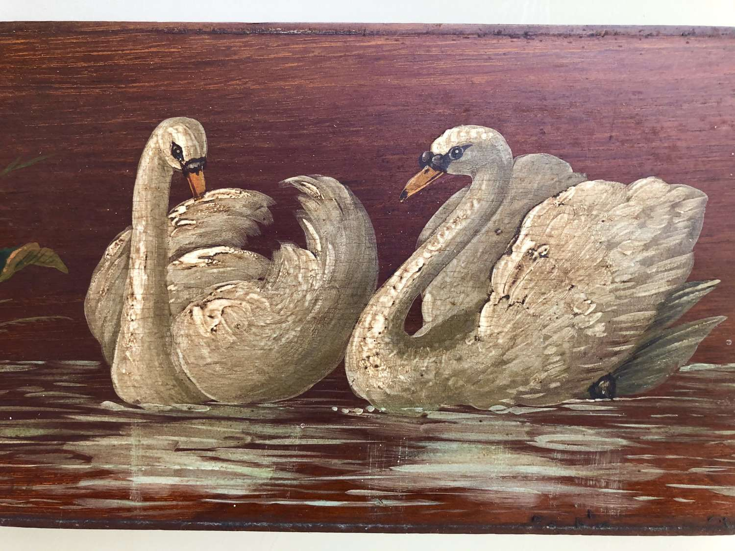 Edwardian Painted Panel TWO SWANS