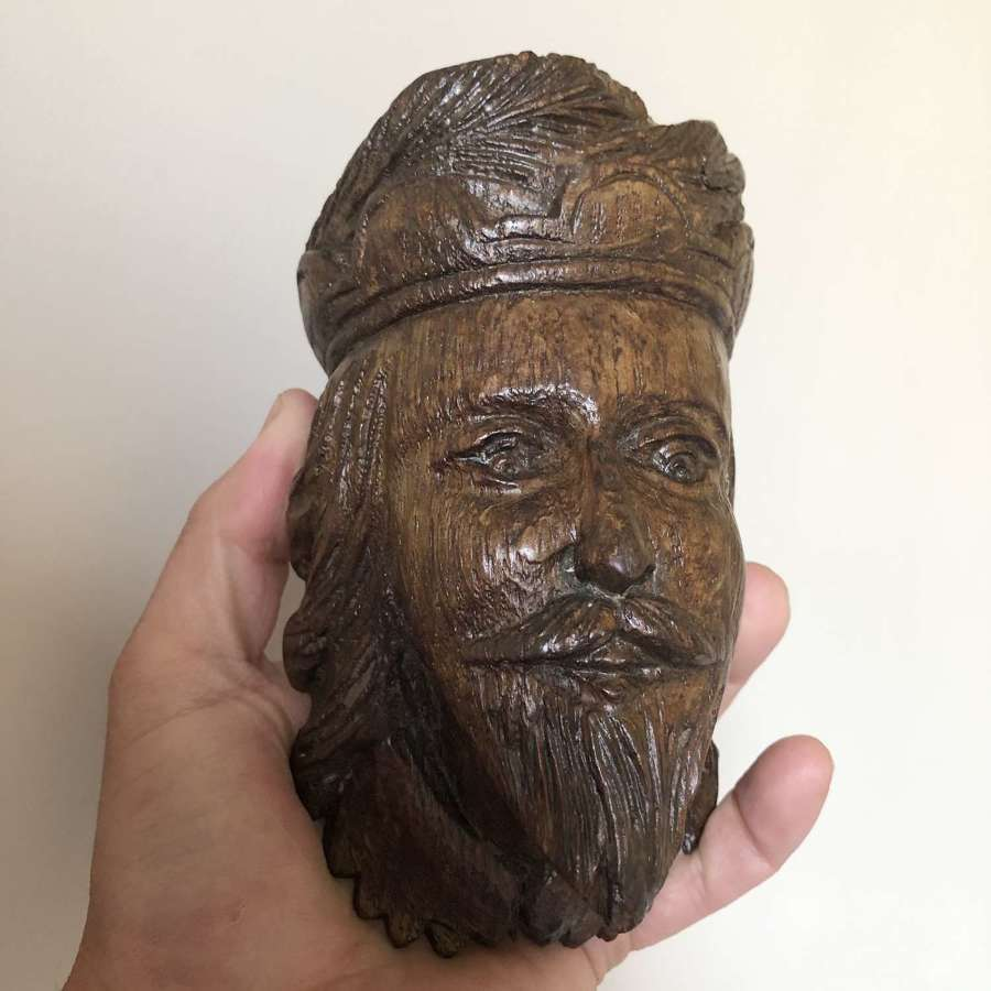 Carved Oak Head of a King