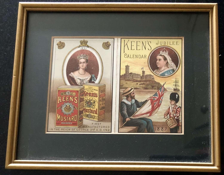 Keen's Mustard Framed Calendar 1887