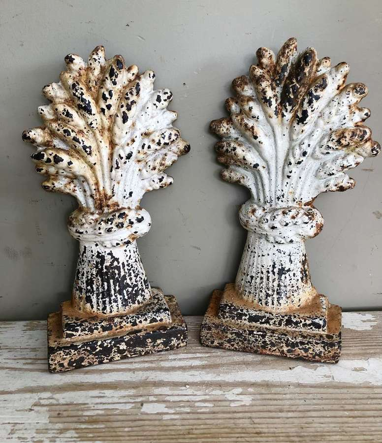 Pair of 19th Cent Wheat sheaf Chimney ornaments