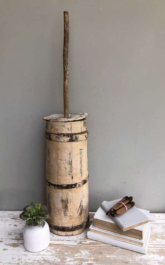 19th Cent Plunger Butter churn in original paint
