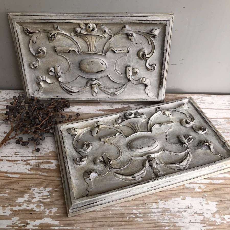Pair of Painted Carved French Panels