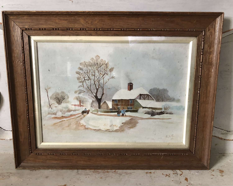 19th Cent Naive Folk Art Painting