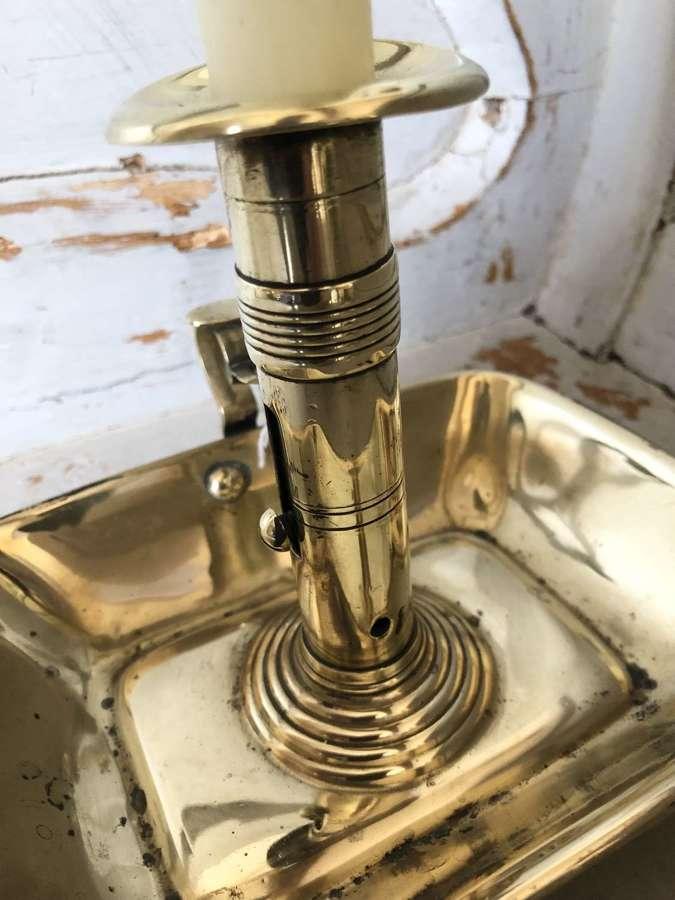 19th cent rectangular Brass Ejector Chamber Stick