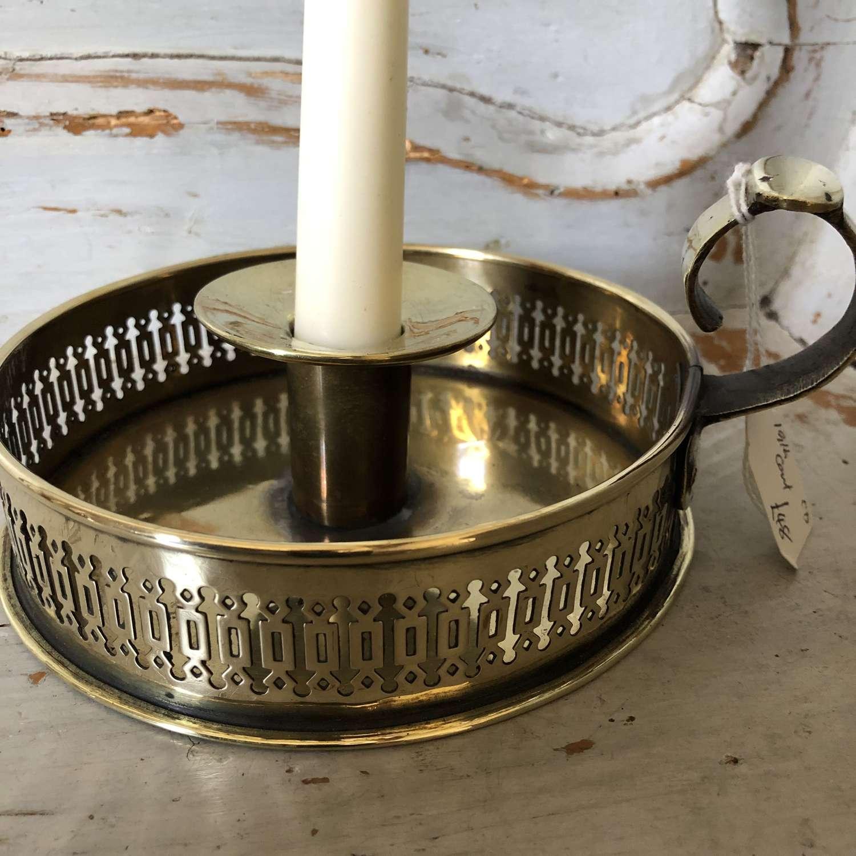 Brass Galleried Chamber Stick