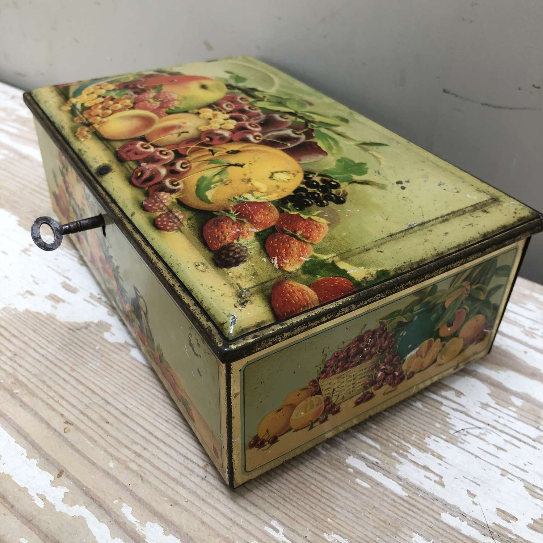 Vintage Lockable Tin Biscuit Caddy