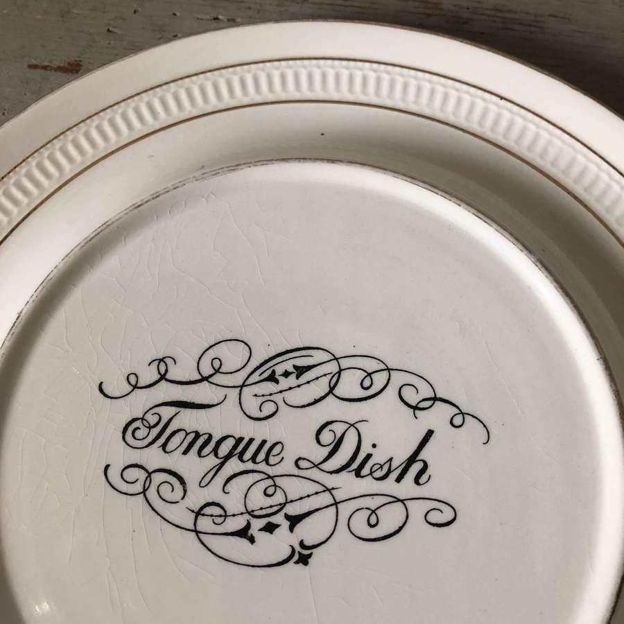 Antique White Ironstone Tongue Dish