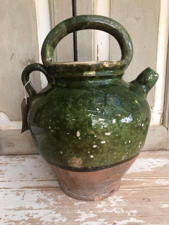19th Cent Green Confit Pot