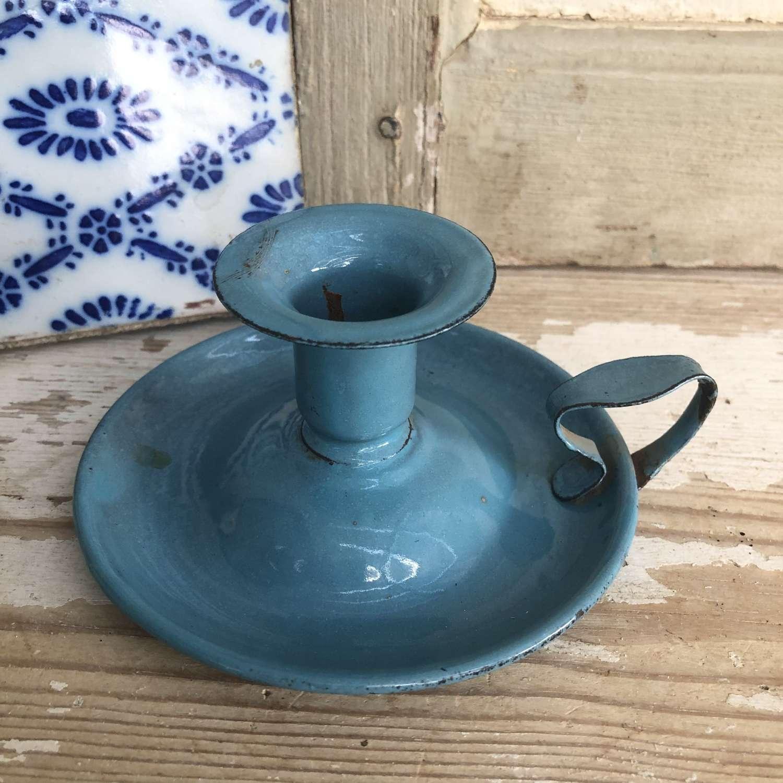 Turquoise enamel Chamber Stick
